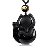 encantos chineses esculpidos venda por atacado-DJ Jóias Encantador Handwork Chinês Preto Obsidian Mão-Esculpida Sorte Fox Amuleto pingente de colar de jóias do homem da mulher