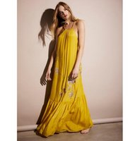Wholesale maxi dresses silk chiffon - US New 2018 UK Brand Vestidos Women Summer Silk like Rayon Slip Maxi Long Dress Embroidery Boho People female Backless Dress Female