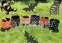 Venda por atacado Blanks New Designs Stripe Halloween Buckets Halloween Tote Bag Trick or Treat Candy Gift Bag