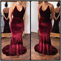 Wholesale Custom Made Wine - Custom Made 2018 Wine Red Backless Velvet Mermaid Evening Dresses Sexy Halter Long Train Prom Gowns Party Gowns