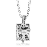 Wholesale Wholesale Keepsake Boxes - Antique Silver Love Locket Cremation Ashes Necklace Openable Box Cremation Lockets Pendant keepsake Hold Ashes Jewelry 161283