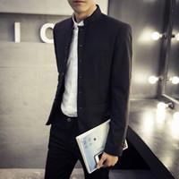 Wholesale Mens Tunic Jackets - Wholesale-2016 TOP Quality Men's Black Chinese Tunic Suit Mens Blazers Mens Blazers Long Sleeve Suit Jacket Blazer Jackets 3XL