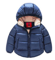 Wholesale Down Coat Overall Girl - 7-24months Winter Newborn Baby Snowsuit Cotton Girls Coats And Jackets Baby Warm Overall Kids Boy Jackets Outerwear Clothes