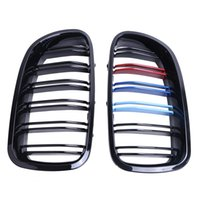 Wholesale 1Pair Gloss Black M color Double Slat Front Kidney Grille For BMW F10 F11 F18 IN Series Sedan Touring Car Accessory P244