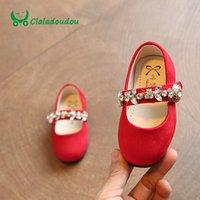 Wholesale Wholesale Shoes Crystal Stone - Wholesale- Claladoudou 2017 Baby Girls Shoes Softwalk Shoe For Children Girls Stone Footwear Red Crystal Spring Toddler Girl Spring Shoe