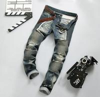 Wholesale Jeans Boys Feet - 2017 European version denim biker jeans fashion mens jeans feet tight stitching big punk style motorcycle pants BOY 609