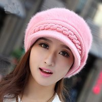 Wholesale Winter Cap Types - cashmere knitted hat Korean type winter women's Beret peaked cap lady rabbit hair hat