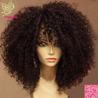 ingrosso capelli umani afro donne parrucche-Parrucche Afro crespi ricci pizzo anteriore dei capelli umani con frangia parrucca piena del merletto dei capelli umani brasiliani ricci per le donne nere grado 7a