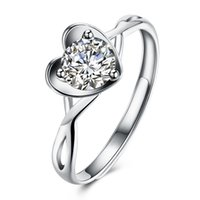 Romantic Heart Love Shaped 925 Sterling Silver Geometry Flat Ring Moda Prong Setting Wedding Engage San Valentino Regali Ladies Girls Women