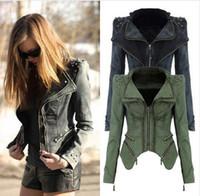 Wholesale Short Rivet Jeans - Fashion Army green Grey jeans jackets women oversized denim jacket punk chaquetas mujer vintage Rivet coats new jeans coat