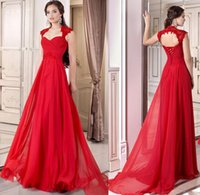 Wholesale Square Corset - 2016 Formal Red Prom Gown Dress Corset Chiffon Full Length Lace Up A-line Prom Dresses Cap Sleeves Occasion Party Gowns Free Shipping China