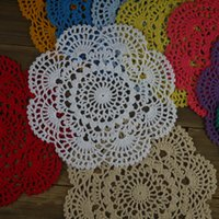 """Wholesale Round Handmade Tablecloth - Wholesale- 4PCS Handmade Crocheted Doilies8"""" 20cm Round Cup Mat Pad tablecloth Coasters White Wadding Home Decoration"""