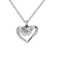Wholesale Wing Heart Necklace Diamond - Cremation Jewelry Angel Wing Hold Heart Diamond Urn Ashes Necklace Memorial Keepsake Pendant With Gift Bag and Funnel