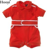 Hooyi Baby Romper Red Racing Suit Costume Summer Camisa de manga curta de ciclismo Baby Boy Clothes 100% Cotton Shortall Bodysuits Macacões