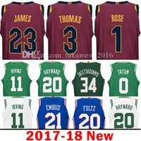 Wholesale Adult Jerseys - 2017-18 3 Isiah Thomas 1 Derrick Rose Jersey Men's 23 LeBronJames Jerseys Adult Embroidery and 100% Stitched 2017 - 2018