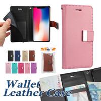 ingrosso borsa del cellulare del pu-Custodia a portafoglio per iPhone XS MAX XR 8 8Plus Custodie in pelle PU con custodia per cellulare Tasca laterale per cellulare in borsa OPP