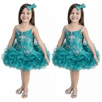 2018 Cute Girls Pageant Cupcake Dresses Младенческая пачка Organza Party Gowns Малыш Baby Girls Ruffles Mini Beaded Birthday Dress Custom