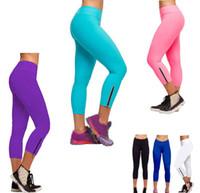 sıkı kapri kadınları toptan satış-Ücretsiz nakliye SıCAK Yeni varış Kadınlar Rahat Tayt Capri katı Bir Koşu Pantolon Yüksek Bel Kırpılmış Spor Tayt S-XL
