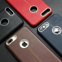 красные кожаные сотовые телефоны оптовых-Для красного iPhone 7 7 плюс кожаный мягкий чехол кожа шить с металлическим кольцом случае ТПУ сотовый телефон случаях