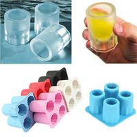 Wholesale Tray Mold Cup Ice Cube - Interesting Silicone Ice Cube Maker Freeze Mold Mould 4 Cup Glass Shape Bar Ice-tray Summer Drinking Tools
