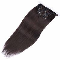 bakire saç tokası uzantıları toptan satış-10 adet / takım İnsan Saç Uzantıları Klip Brezilyalı İnsan Örgü Brezilyalı Bakire Saç Klip İnsan Saç Üzerinde 7,8, 10 adet / takım