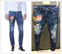 Wholesale Man Jeans Jacket New - 2017 High quality fashion New Style Brand DSQ Men's Denim Jean jacket Embroidery Tiger Pants Holes D2 Jeans Zipper Men Pants Trousers 28-36