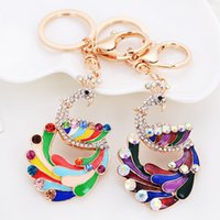 Wholesale Designer Bags Peacock - Fine Designer Peacock Key Chains Colorful Rainbow Peacock Key Rings Rhinestone Car Keychains Bag Pendant for Women and Girls koq-001