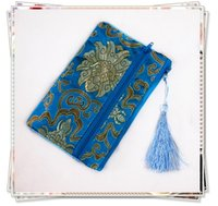 Wholesale Money Makeup - Double Zipper Purse Gift Bag for Jewelry Pouch Storage Bag Travel Money Bag Necklace Bracelet Bag Chinese Silk Brocade Cosmetic Makeup Bag