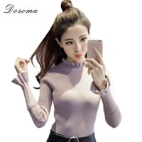 Wholesale womens ruffle sweater - Wholesale- dosoma Turtleneck Thicken slim Knitting Women Sweater Pullover Flare Sleeves ruffles Sweaters Womens Tops sweet Wear knitt tops