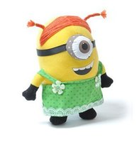 Wholesale Despicable 9inch Toy - 2013 New 25CM 3D Despicable ME 2 Movie Plush Toy 9Inch Minions Green apron