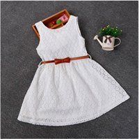 Wholesale Lace White Dress For Girls - Hot sale retail 2016 new summer solid lace with sashes vest princess dresses for girls children red white purple 3 colors