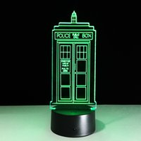 Wholesale Star Phone Batteries - 2016 Phone Booth 3D Optical Illusion Lamp Night Light DC 5V USB AA Battery Wholesale Dropshipping