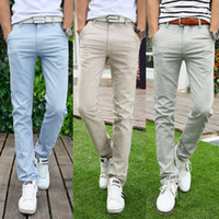 Wholesale Button Fly Chinos - Wholesale-New Arrival Summer Fashion Slim Khaki Linen Pants Mens Blue Chinos Dress Pants Big Mens Clothing Grey Trousers Free Shipping