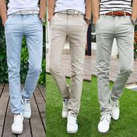 Wholesale Men Grey Dress Pants - Wholesale-New Arrival Summer Fashion Slim Khaki Linen Pants Mens Blue Chinos Dress Pants Big Mens Clothing Grey Trousers Free Shipping