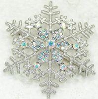 Wholesale Aurora Borealis Flower Pin - Hexagonal Snowflake Hexagon Decoration Wholesale 12piece lot Aurora Borealis Crystal Snowflakes Brooches Wedding party prom Flower Pin Brooc
