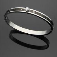 Wholesale Nail Bracelet Diamonds - Wholesale Jewelry Titanium Steel Black Steel Sheet Nail Striped Diamond Bracelet Single Diamond Bracelet