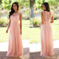 coral wedding dress sash with best reviews - Lace Applique Elegant Bridesmaid Dresses Jewel Sleeveless Wedding Guest Dress Sheer Back Zipper Sweep Train Chiffon Cheap Formal Gown 2017