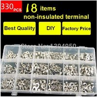 Wholesale Wire Crimp Ring - Wholesale-330pcs lot Assorted Non-Insulated Ring Fork U-type Terminals Assortment Kit Electrical Crimp Spade Set Lug Cable Wire Connector
