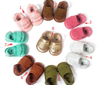 Wholesale Order Baby Sandals - New Baby PU leather first walker shoes Tassels mocassions baby shoes soft soled shoes sandals Min Order 12 Pairs