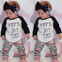 Wholesale Striped Leggings Outfit - NWT 2016 New INS Baby girls kids Outfits 2piece Set Spring Cotton long sleeve Tops Shirts + Harem Striped rose floral Pants Tights leggings