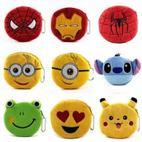 Girls spiderman coin - Cartoon plush Wallet Coin Bag beads multi style QQ expression hand small wallet minion spiderman Iron man Coin Purses cute coin bag
