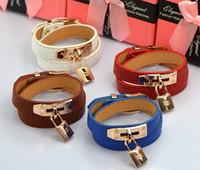 Wholesale Locked Cuffs - Hot New bracelet Women Multilayer Loop Leather Bracelet Narrow Wristband Lock Bangle Lady Classic Fashion Cuff Bracelet