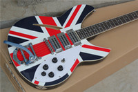 Wholesale Semi Hollow Guitar Tremolo - 6-String Electric Guitar with UK Flag Pattern Body and Tremolo System and can be Customized as Request
