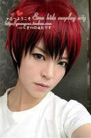 Wholesale Anime Wig Cosplay Mens - 100% Brand New High Quality Fashion Picture Wig can hot dye>>Japanese Men's Mens Boy Red Black Mix Short Straight Hair Wigs Cosplay Anime Wi