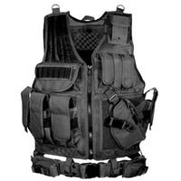 accesorios molle al por mayor-Ejército de combate táctico chaleco militar de protección Airsoft camuflaje chaleco de Molle chaleco de entrenamiento de caza al aire libre ropa accesorios