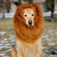 Wholesale Fancy Ornaments Wholesale - Dog Pet Dog Lon Mane Fancy Dress Up Pet Costume Cat Halloween Clothes Lion Mane Wig for Large Dogs Accessories Pet Supplies