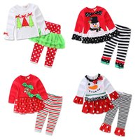 Wholesale Kids Pants Wholesale Prices - Faster shipping Cheap price New Kids Girls 2 Pieces Christmas Santa Long Sleeve Shirt Pants Outfit Set