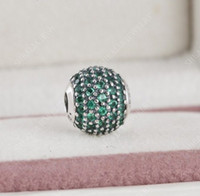 Wholesale Only Silver Jewelry - 2017 New Authentic 925 Sterling Silver Green CZ Pave Prosperity Essence Charm Beads Only Fit Women Essence Charm Bracelets DIY Jewelry HE5
