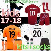 Wholesale Red Soccer Socks Boys - 2017 2018 boy KIDS KIT soccer jersey socks COUTINHO home away red 17 18 FIRMINO HENDERSON MILNER WIJNALDUM Best top quality football shirt