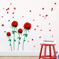 Wholesale Large Red Wall Decal Stickers - Red Rose Flower Wall Sticker Mural Decal Living Room Bedroom Home Room Art Decor DIY Romantic Wedding Room Decoration